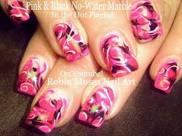 robin moses nail art up for monday pink no water marble nail