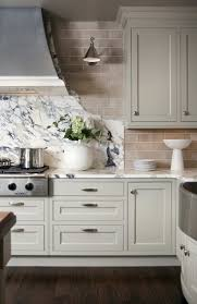 light grey kitchen cabinets subway tile backsplash kitchen