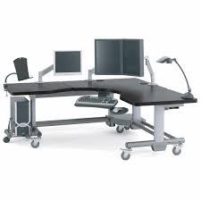 Adjustable Height Corner Desk Medical Computer Workstation Radiology Height Adjustable