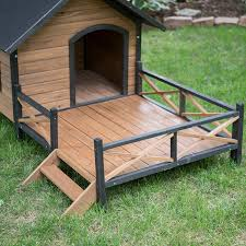 House With A Porch Amazon Com Large Dog House Lodge With Porch Deck Kennels Crates