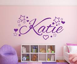 nursery wall stickers with custom names by eydecals personalised name stars and hearts wall decal