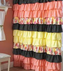 Pink And Yellow Shower Curtain by Bathroom Enchanting Ruffle Shower Curtain For Bathroom Decoration