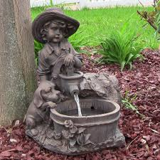 solar fountains with lights sunnydaze boy with dog solar on demand water fountain with led light