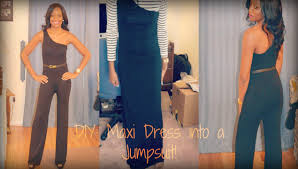 all into one jumpsuit diy turn a maxi dress into a jumpsuit fashion friday sewing
