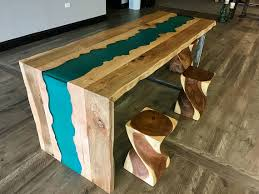 live edge river table epoxy sold stunning ambrosia maple live edge waterfall table with