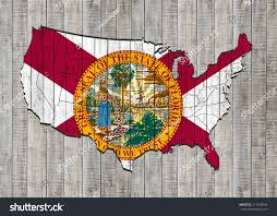 Florida Flag History Florida Flag America Map Wood Background Stock Illustration