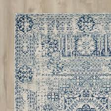 Rose Area Rug Ivory Blue Area Rug