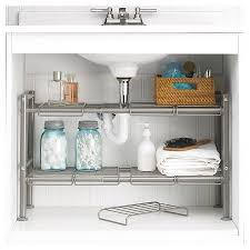 easy home expandable under sink shelf expandable under sink storage rack chagne 88 main target 23