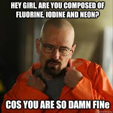 Damn Girl Meme - hey girl are you composed of fluorine iodine and neon cos you