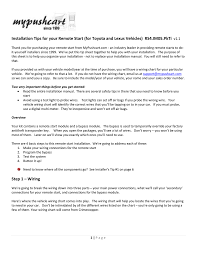toyota address installation tips for your remote start for toyota