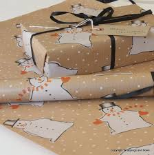 brown wrapping paper christmas kraft patterned brown gift wrapping paper novelty snowman