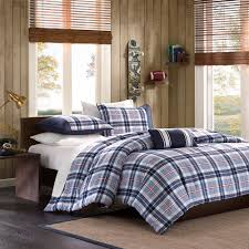 bedroom window blinds and wood paneling for walls with plaid