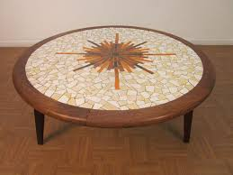 solid walnut tile round coffee table for sale at 1stdibs