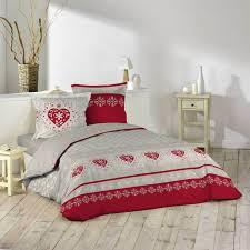 rideau style montagne housse de couette 240x260 cm taies montagne rouge