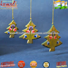 hand painted wood cutouts tree shape indian christmas ornaments
