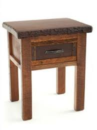 Wood Slab End Table by Lodge Style End Table Cabin Nightstand Solid Rustic Woods