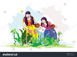 beautiful young girls traditional dress collecting stock vector