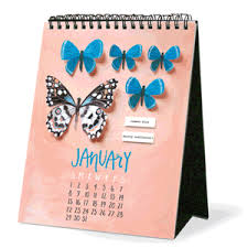 Small Easel Desk Calendar Illustrated Butterfly Page A Month Desk Easel Calendar 2017 Page