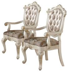 Accent Chair Set Of 2 Acme Chantelle Arm Chairs Rose Gold And Pearl White Set Of 2