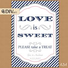 wedding wishes nautical printable 5x7 wedding sign candy bar dessert table navy preppy