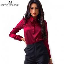 business blouses silk satin shirts sleeve business formal shiny