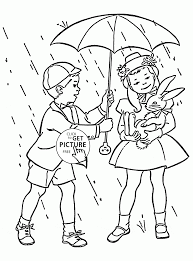 kids and spring rain coloring page for kids seasons coloring