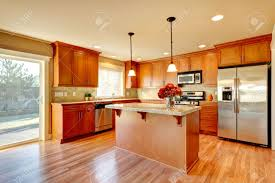 Kitchens With Wood Cabinets Bright Kitchen With Hardwood Floor Wood Cabinets Modern Steel