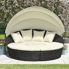 clifford james rattan sun lounger day bed seat garden furniture with