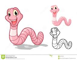 detailed earthworm cartoon character with flat design and line art
