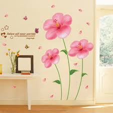 Livingroom Wall Art Pink Flower Wall Stickers Living Room Bedroom Wall Art Decals