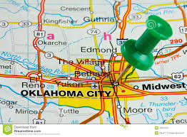 Pushpin in oklahoma city map royalty free stock images image