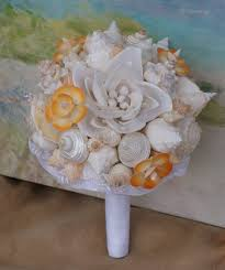 seashell bouquet coral seashell flower and pearl seashell wedding bouquet