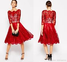 latest scoop neck 3 4 sleeve party dresses red lace midi dresses