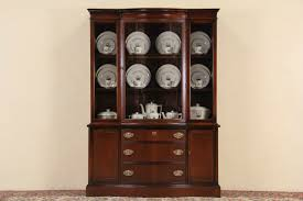 curved glass china cabinet sold traditional curved glass bassett vintage breakfront china