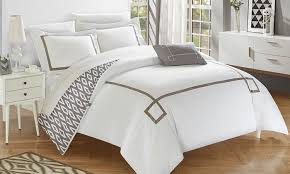 greek key embroidered reversible duvet cover set 3 or 4 piece