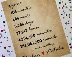 9th wedding anniversary gift 9th anniversary etsy