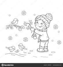 coloring page outline of cartoon boy feeding birds winter