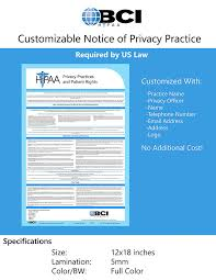 amazon com 2017 hipaa notice of privacy policy poster customized