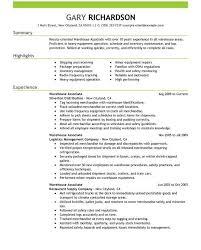 Warehouse Experience Resume Sample by Warehouse Associate Resume Ecordura Com