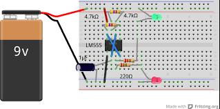 Led Blinking Circuit Diagram Fritzing Project U2013 555 Dual Led Flasher