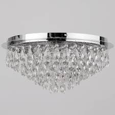 Glass Droplet Ceiling Light by Crystal Flush 6 Light Ceiling Light Chrome From Litecraft