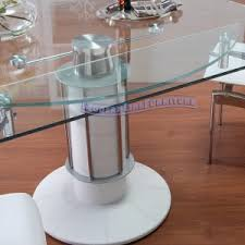 dining room solid white expandable dining table set with round