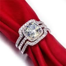 wedding sets on sale hot luxury new bridal set wedding rings sets 3 carat d h cushion