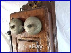 wood turned wall antique vintage elliott oak box crank wall phone wood turned into