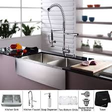 kitchen sink and faucet combo kraus khf20336kpf1602ksd30ch 36 inch farmhouse bowl