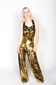 gold jumpsuit any iron flip sequin gold and black jumpsuit 54 garmentory