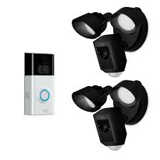 ring wireless video doorbell 2 with floodlight cam black 2 pack