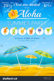 aloha luau beach party vector flyer stock vector 432786343