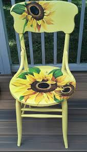 How To Paint Wooden Chairs by Hand Painted Sunflower Chair By Cherylschwierdesign Artwork