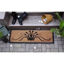 Coir And Rubber Doormat Rubber Bordered Coir Door Mat Swirls 40x120cm The Trading House